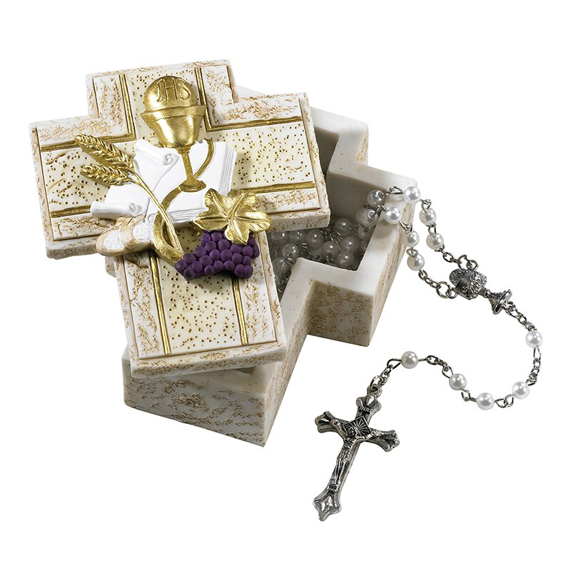 First Communion Cross Rosary Case - 3/pk