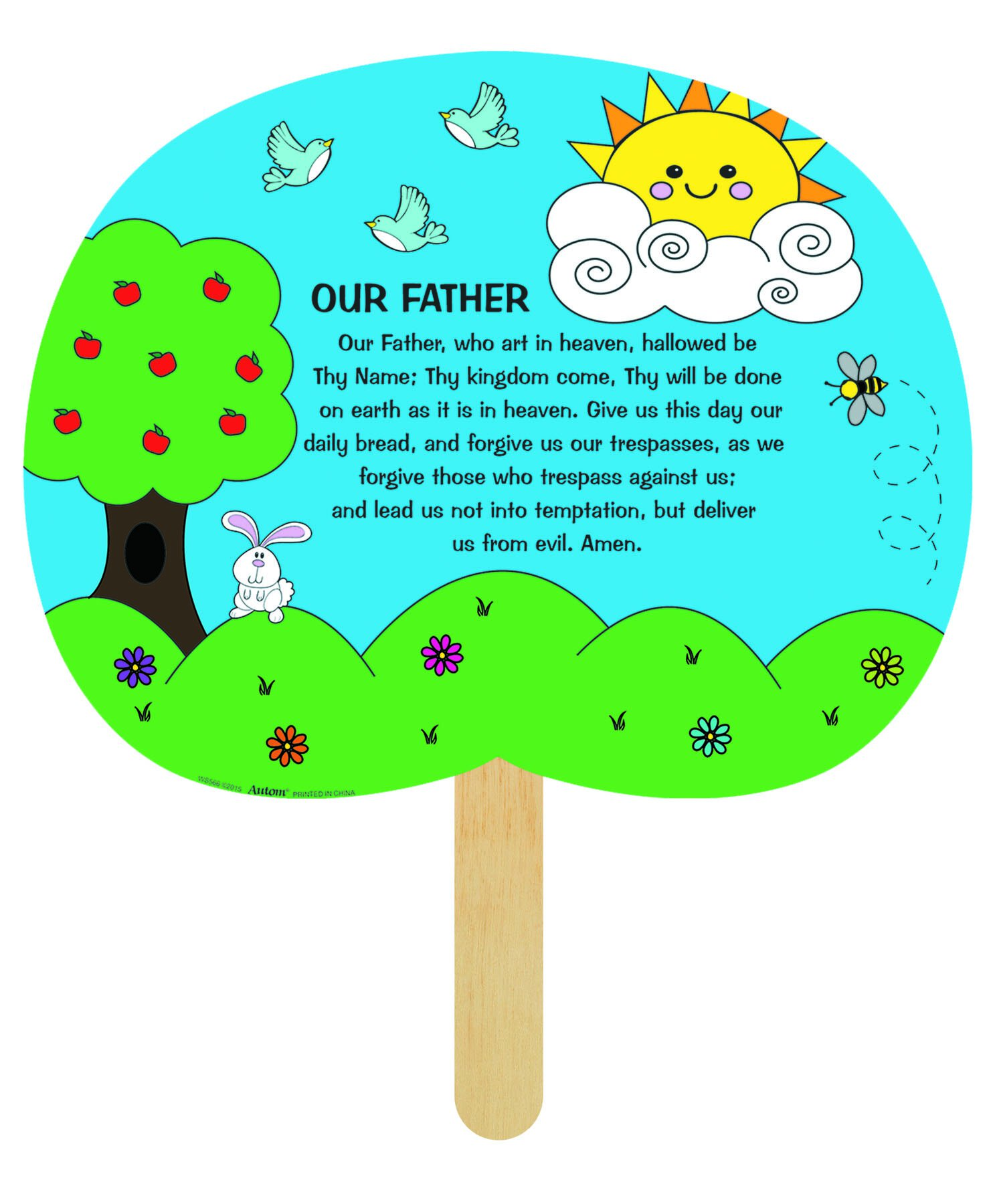 Our Father Prayer Color Your Own  Fan - 50/pk