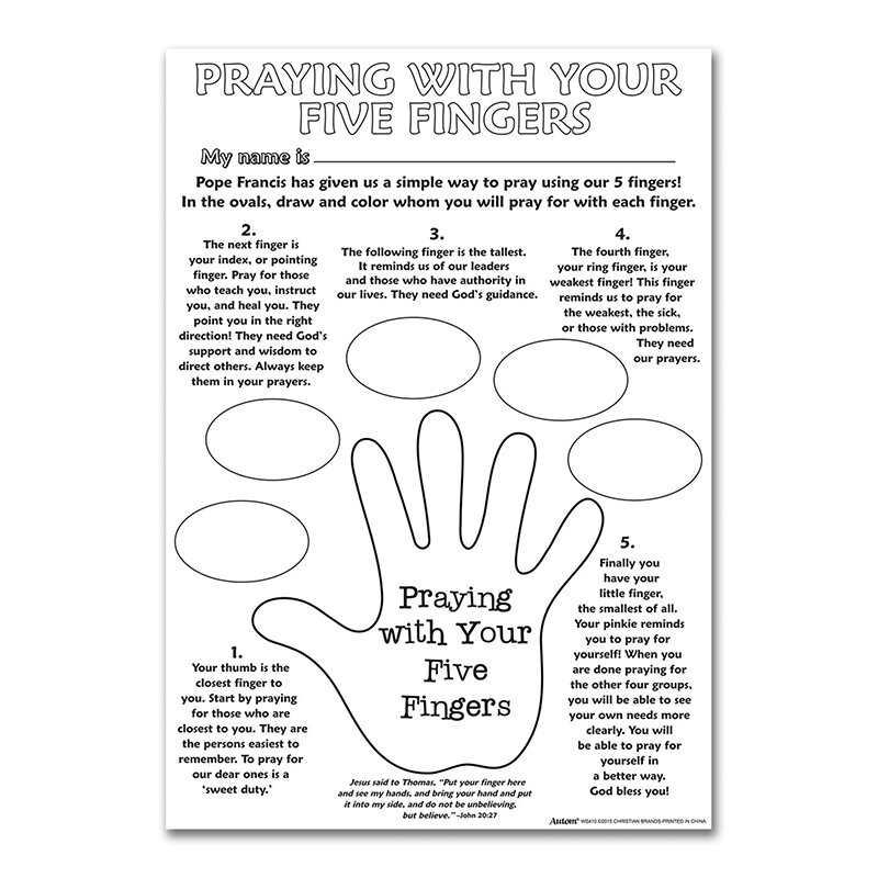 Color Your Own Poster - Praying With Your Five Fingers - 50/pk