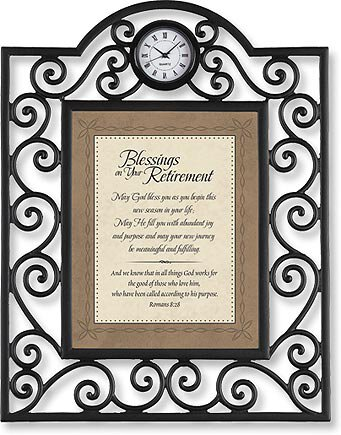 Blessings on your Retirement Romans 8:28 Table Clock