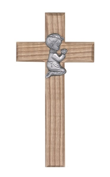 Praying Boy Oak Wall Cross
