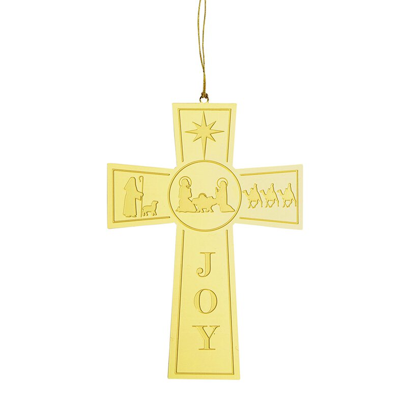 Nativity Cross Brass Ornament - 24/pk