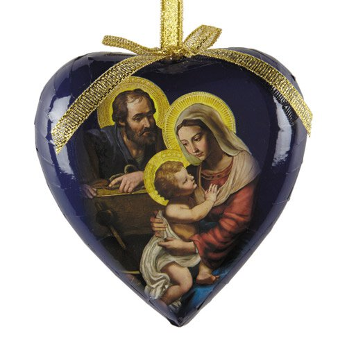 Adoring Holy Family Heart Shaped Decoupage Ornament - 6/pk