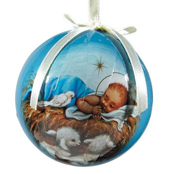 Infant Jesus with Lambs Decoupage Ornament - 6/pk