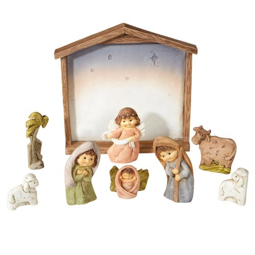 Nine-Piece Childlike Nativity Set with Stable