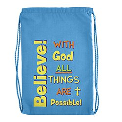 Believe With God All Things Are Possible Drawstring Backpack - 12/pk