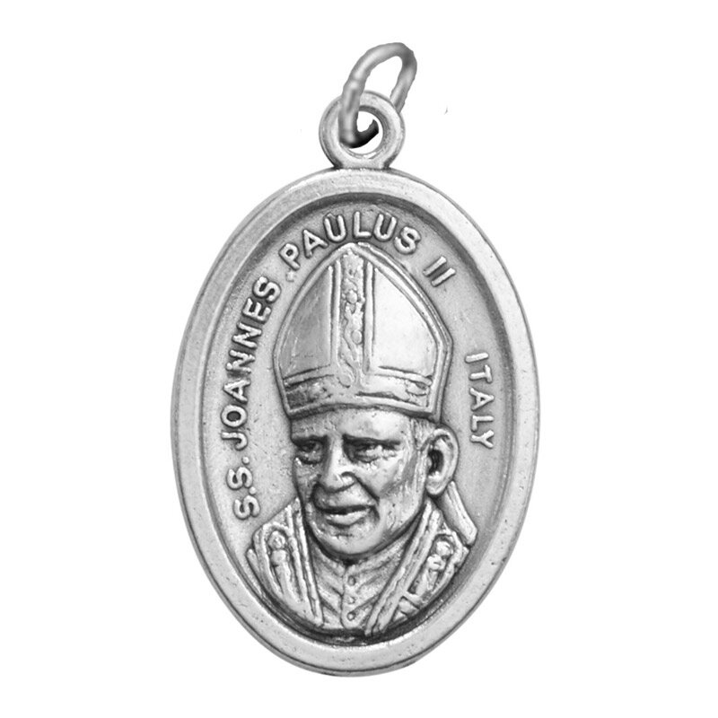 St. John Paul II/Our Lady of Czestochowa Oxidized Medal - 50/pk