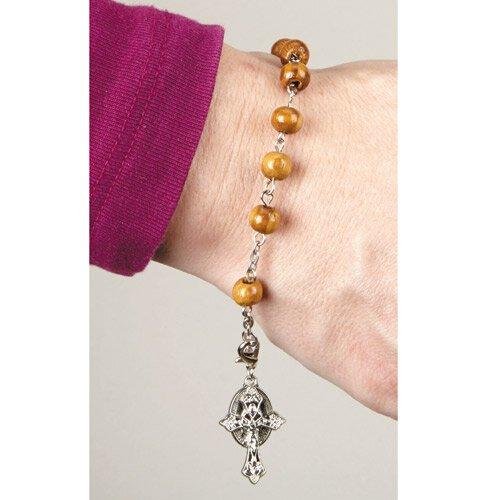 Olive Wood Rosary Bracelet - 12/pk