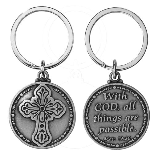 With God All Things are Possible (Matthew 19:26) Key Chain - 12/pk