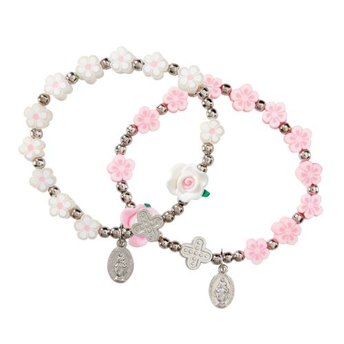 Flower Bead Rosary Bracelet Assortment (2 Asst) - 12/pk