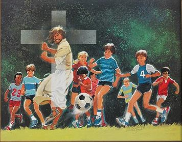 Jesus With Soccer Team - Print