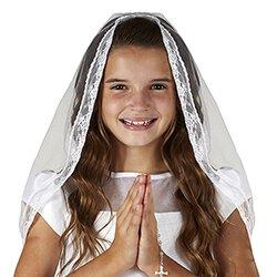 Mantilla Style First Communion Veil - 6/pk