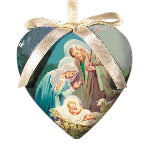 Baptism Heart Ornament: Sleep In Heavenly Peace Heart Shaped Decoupage Ornament