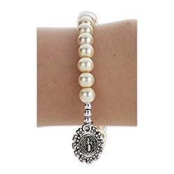 St. Benedict Fancy Medal Stretch Bracelet - 12/pk