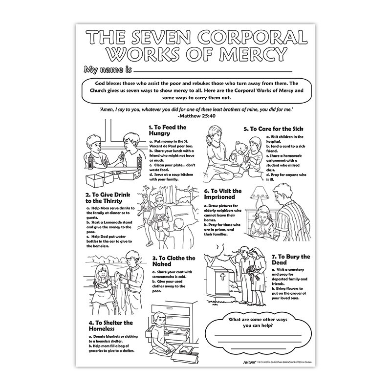 Color Your Own Poster - The Seven Corporal Works of Mercy - 50/pk