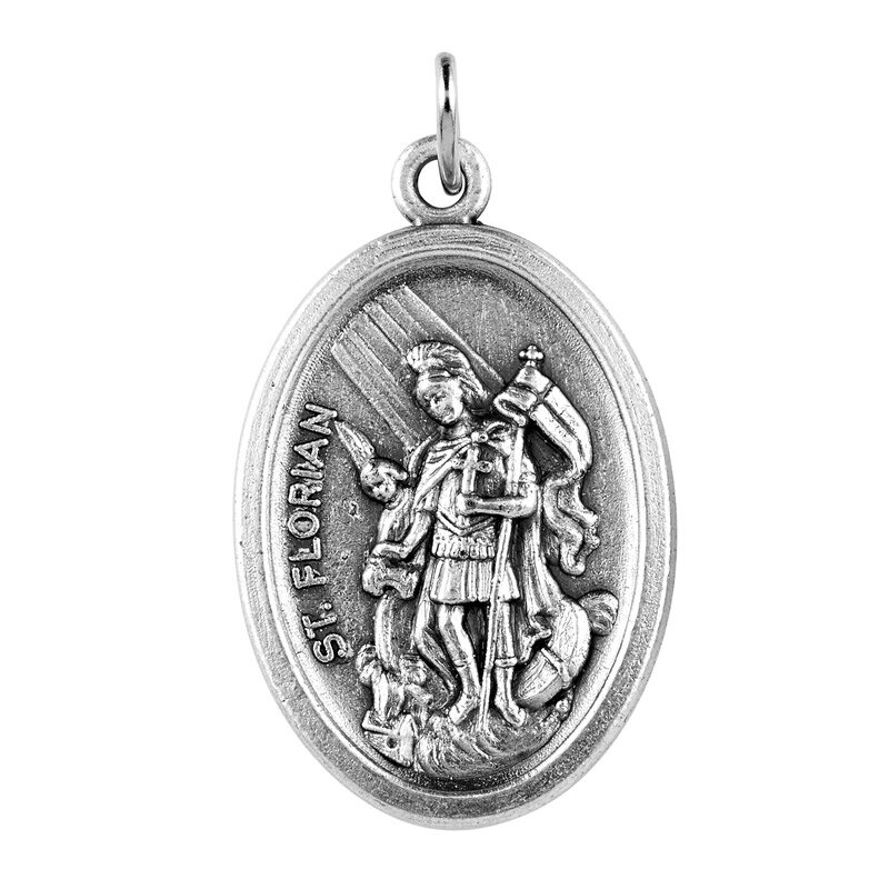 St. Florian/Pray for Us Oxidized Medal - 50/pk