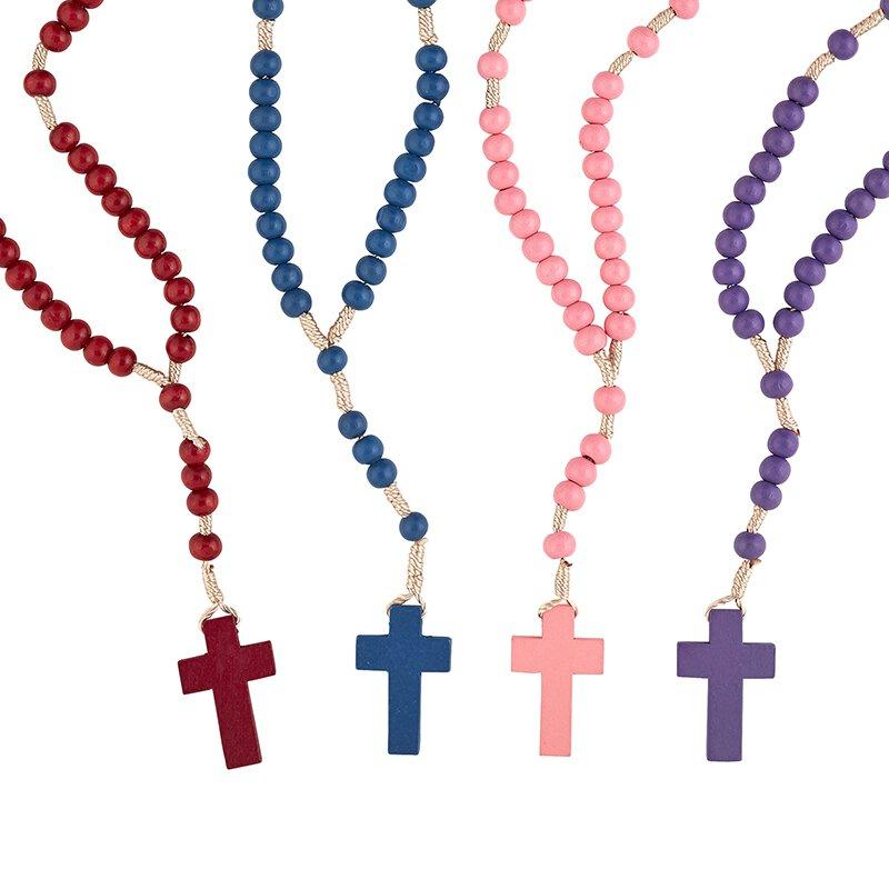Corded Wood Rosary Assortment (4 Asst) - 24/pk