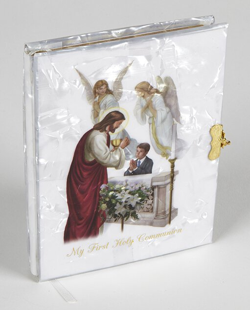 Blessed Sacraments Pearlized First Communion Book Boy