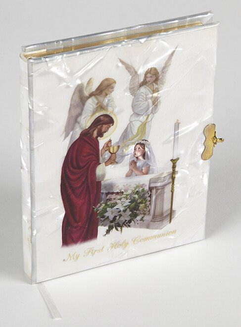 Blessed Sacraments Pearlized First Communion Book Girl