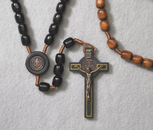 Black St Benedict Wood Cord Rosary -  6/pk