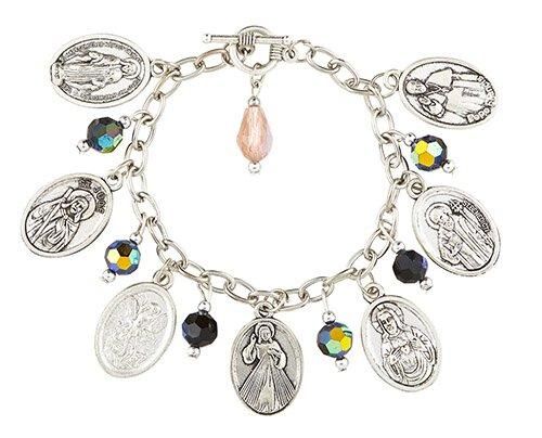 Devotional Saints Medal Charm Bracelet - 6/pk