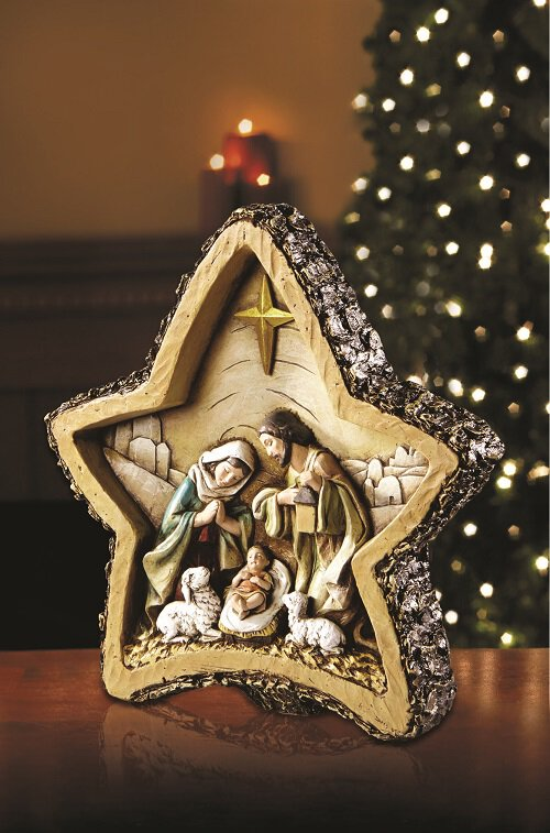 "8"" Woodgrain Star Nativity"