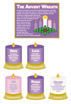 meaning of the advent wreath poster set 6 sets pk. Black Bedroom Furniture Sets. Home Design Ideas