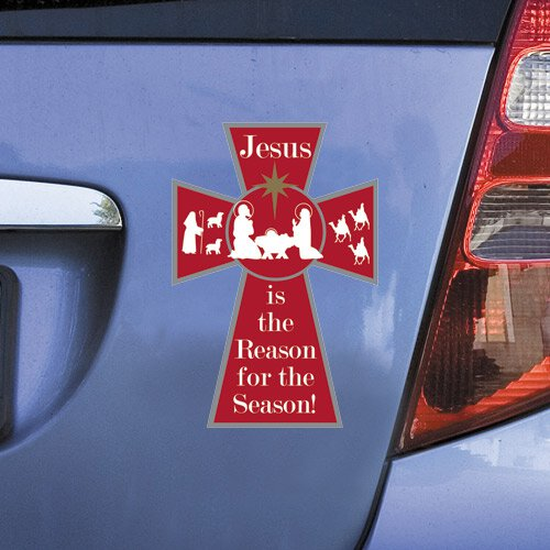 Jesus is the Reason Christmas Cross Auto Magnet - 24/pk
