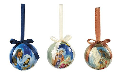 Nativity Decoupage Ornament Assortment (3 Asst) - 24/pk
