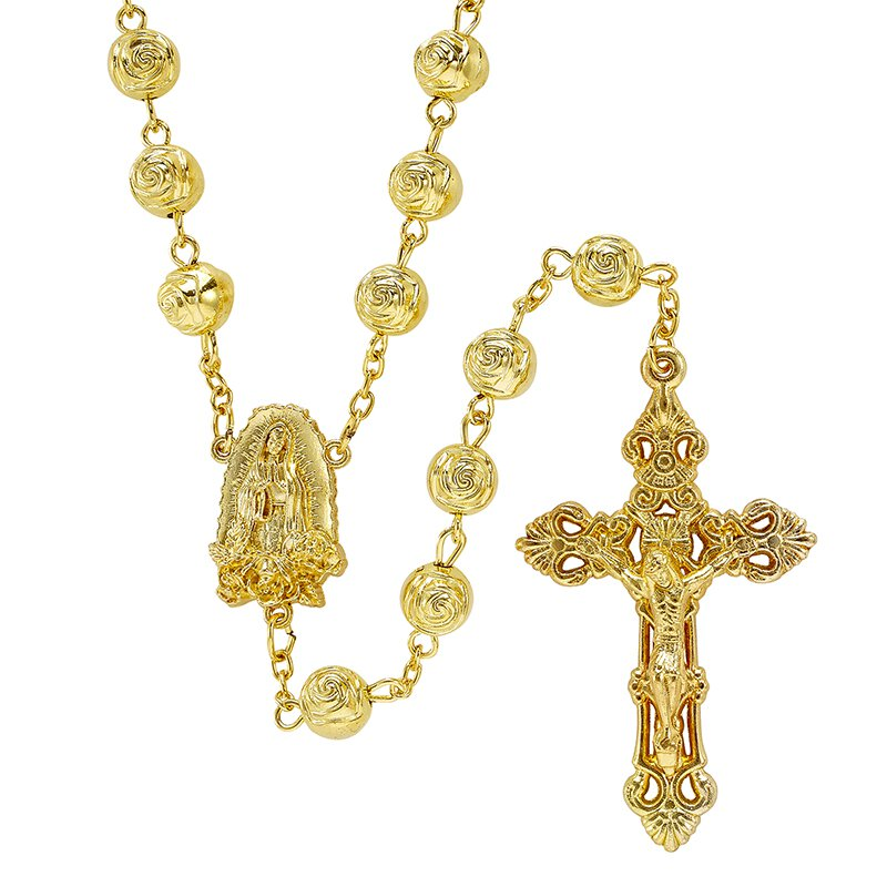 Our Lady of Guadalupe Gold Tone Rosebud Bead Rosary - 4/pk