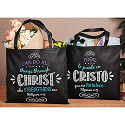 I Can Do All Things Bible Tote Bag Spanish - 12/pk