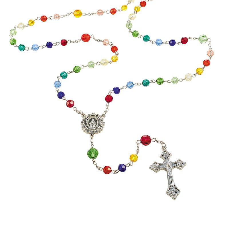 Rainbow Glass Bead Rosary - 6/pk