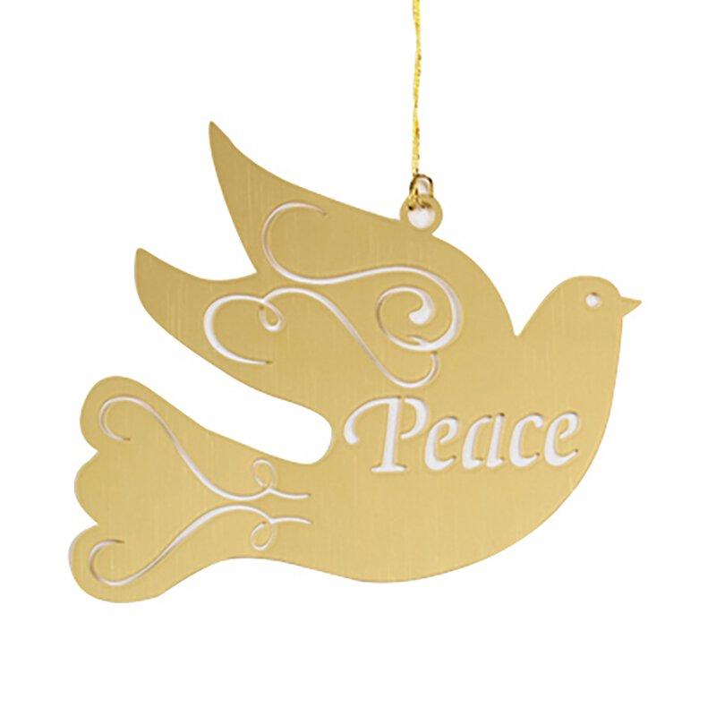 Brass Joy/Peace Dove Ornament  Ast 24P