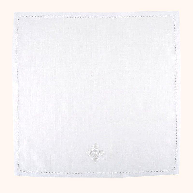 100% Linen White Fleur-de-Lis Cross Corporal - 3/pk