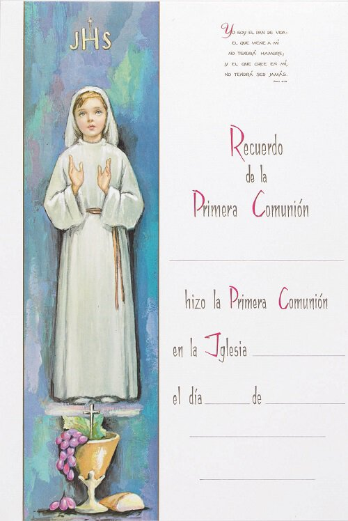 Recuerdo de la Primera Comunion - Girl Certificates