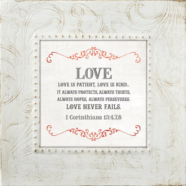 Touch of Vintage 7x7 Frame - 1 Corinthians 13:4-8 - Discontinued