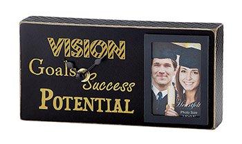 Graduation- Black/Gold- Success, Goals, Vision, Potential - Tabletop Frame/Clock