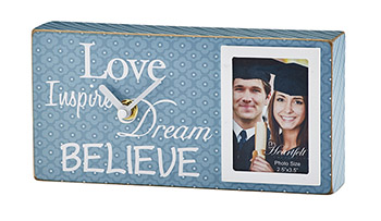 Graduation- Blue/White- Believe, Dream, Love, Inspire - Tabletop Frame/Clock