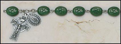 Shamrock Our Lady of Knock Irish Rosary Bracelet
