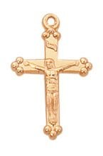 24kt Gold Plate Over Sterling Baby Crucifix Pendant