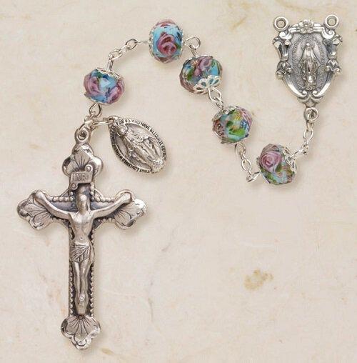 Glass Hand Painted Rosary - Aqua