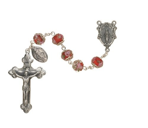 Glass Hand Painted Rosary - Ruby