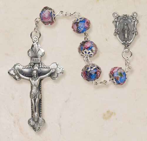 Glass Hand Painted Rosary - Sapphire