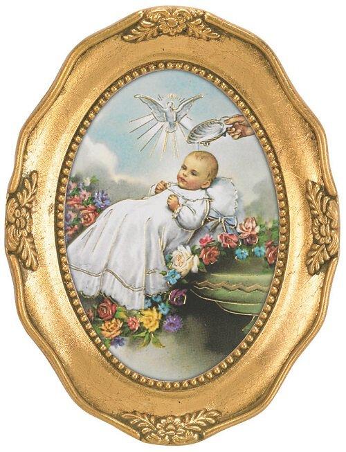 Baptism Oval Framed Print