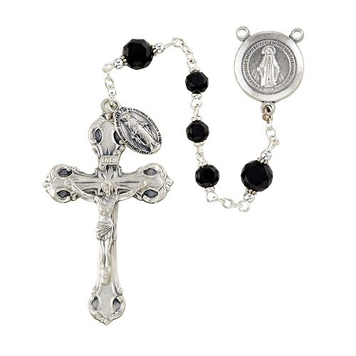 Frosted Austrian Crystal Rosary - Jet