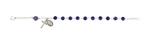 Frosted Austrian Crystal Rosary Bracelet - Sapphire