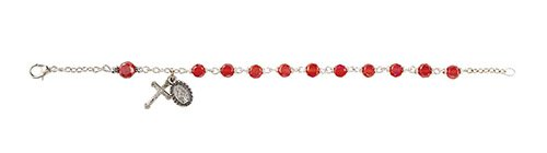 Frosted Austrian Crystal Rosary Bracelet - Ruby