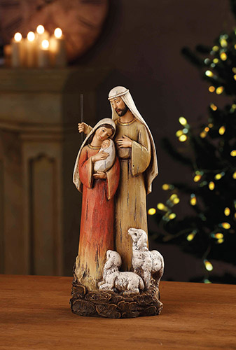 "12"" H Holy Family with Lambs"