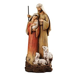 12 inch H Holy Family with Lambs