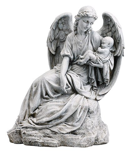 Sitting Guardian Angel with Infant Garden Statue